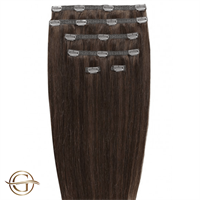 Clip on hair extensions #4 Brun - 7 sæt - 50 cm | Gold24