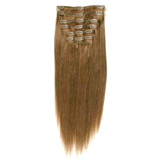 Clip on hair #12 50 cm Lysebrun